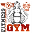 Fitness club and gym label Athletic woman vector image