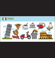 italy travel destination promotional poster with vector image