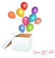 Open box with balloons vector image