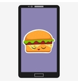 Smartphone with hamburger in vector image