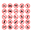 Set ban icons Prohibited symbols red circle signs vector image