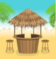 beach bar thatch outdoor background with lounge vector image