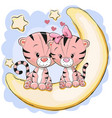 two cute tigers on the moon vector image