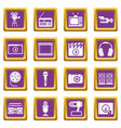 audio and video icons set purple vector image