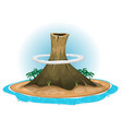 Volcano on desert island vector image