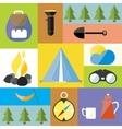 Cartoon Camp Design Nature Outdoor Boho Icon Set vector image