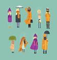 cartoon flat people characters set freezing vector image