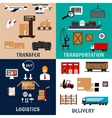 Freight transportation and logistics flat icons vector image