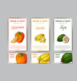 set of organic fruits cards hand drawn sketch vector image