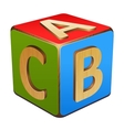 wooden cube with letters ABC vector image
