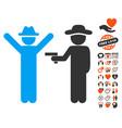 gentleman crime icon with dating bonus vector image