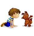 A boy and his brown pet vector image