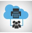 Cloud computing service printer device vector image