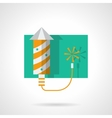 Fireworks yellow rocket flat color icon vector image