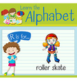 Flashcard letter R is for roller skate vector image