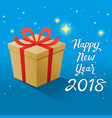 happy new year 2018 text and gold gift box with vector image
