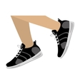 Legs with black Fitness sneakers design icon vector image