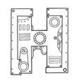 mechanical letter h engraving vector image