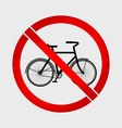 No bicycle prohibition sign vector image