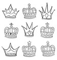 Various sketch crown hand draw doodles vector image