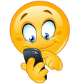 emoticon with smart phone vector image vector image