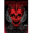 poster with a red skull and calendar for punk rock vector image