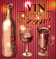 Wine vintage background Hand drawn vector image