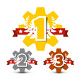 first second and third place icons 1 - 2 -3 cogs vector image
