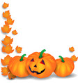 halloween with pumpkins and leaves on white vector image