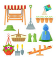 set of garden equipment and decorative accessories vector image