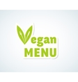 Vegan Menu Sticker Sign or Emblem Fork vector image