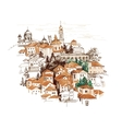 Watercolor cityscape with houses vector image