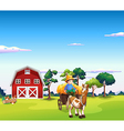 Farm Horse Carriage vector image