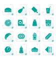 stylized fast food and drink icons vector image vector image