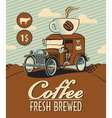 fresh coffee car vector image vector image
