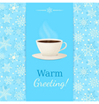 Vintage greetings card with cup of hot drink vector image