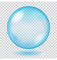 Big blue transparent glass sphere vector image