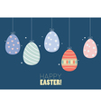 Colorful hanging easter eggs vector image