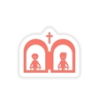 paper sticker on white background Christian vector image