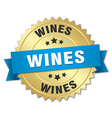 wines 3d gold badge with blue ribbon vector image