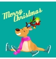 Christmas reindeer with horns and scarf skates on vector image