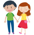 happy couple holding hands vector image