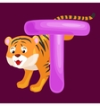 letter T with tiger animal for kids abc education vector image