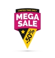Mega sale banner Yellow and pink colors vector image