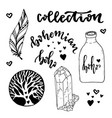 set of boho style elements with hand drawn hippie vector image