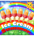 background with a set of fruits ice cream vector image
