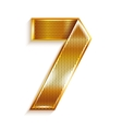 Number metal gold ribbon - 7 - seven vector image