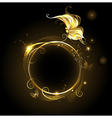 Round banner with golden butterfly vector image