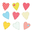 Stitched hearts vector image vector image