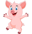 Cartoon funny pig waving hand isolated vector image